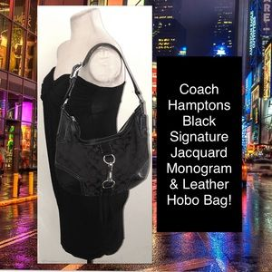 Coach Hamptons Black Signature Jacquard Hobo Bag!
